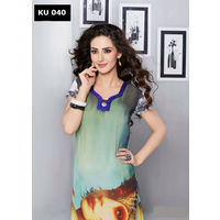 Green Digital Printed Georgette Kurta