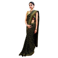 Black Soil Block Printed Cotton Saree