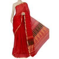 Red Green Bengali Tant Saree