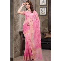 Pink Weaved Cot Silk Saree