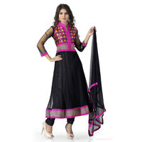 Black Net With Thread Work Anarkali