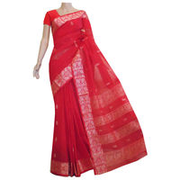 Melon Red Cotton Baluchari Saree