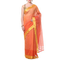 Light Orange Lines With Border Tussar Silk Saree