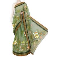 Menhdi Green Bengali Tant Saree