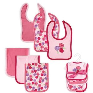 6 pc Bib & Burp Cloth Set-Rose, baby neutral
