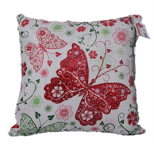 reemavision - Red Butterfly Printing Reversible Sequin Cushion Cover, baby girl