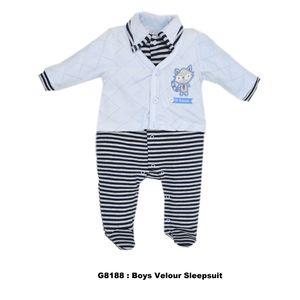 Boys Velour Sleepsuit, baby boy
