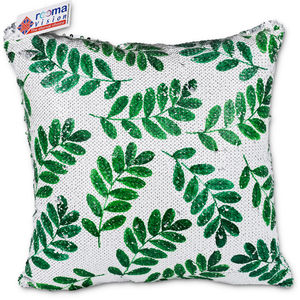 reemavision - Green Leaf Printing Reversible Sequin Cushion Cover, baby boy