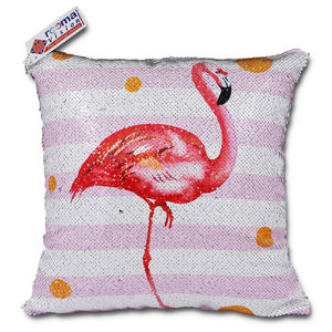 reemavision - Swan Printing Reversible Sequin Cushion Cover, baby girl