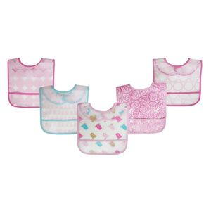 5pk Easy Clean Bibs, baby neutral