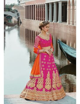 RUHABS PINK COLOUR LEHENGA WITH NET BLOUSE & ORANGE DUPATTA