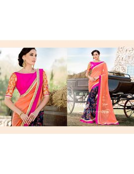 Ruhabs Palmy Colour Georgette Saree With Pink Blouse