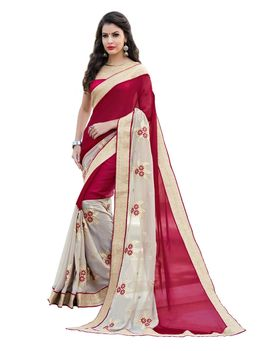 Ruhabs white and pink colour half & half faux georgette saree with pink blouse