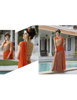 Ruhabs Orange Soft net Gown