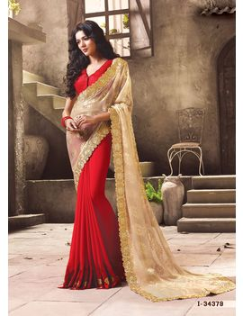 Ruhabs Cream Red colour Saree