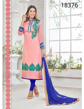 Ruhabs Peach Colored Georgette Suit.
