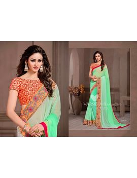 Ruhabs Light Green Colour Georgette Saree With Orange Blouse