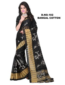 Black White Colour Bangal Cotton Chex Saree