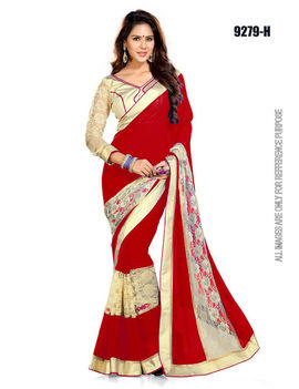 Ruhabs Red colour Saree