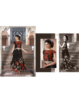 Ruhabs Black Red Floral Soft net Gown