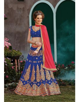 RUHABS VIOLET COLOUR LEHENGA WITH NET BLOUSE & PINK DUPATTA