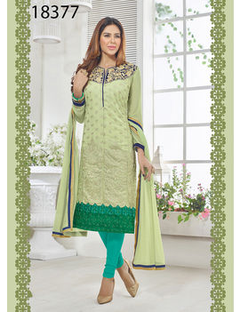 Ruhabs Green Colored Georgette Suit.