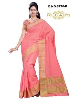 Ruhabs Pink With Golden Work Cotton Saree, cotton, r-re-8676b, kanjiwaram