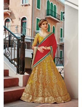 RUHABS YELLOW COLOUR LEHENGA WITH NET BLOUSE & RED DUPATTA