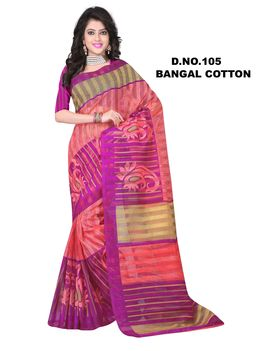 Purple Light Pink Colour Bangal Cotton Chex Saree