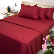 Sateen Stripes Bed Sheet with two pillow covers- Single, maroon