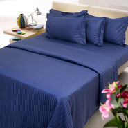 Sateen Stripes Bed Sheet Set - King, navy blue