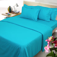 Sateen Stripes Fitted Sheet - Single, turquoise