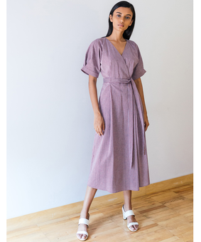 Anomaly Belted Wrap Dress, purple, xl