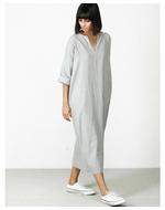 Three Back Slit Dress, grey, s