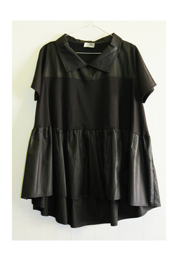 Whim Mix Panelled Top, black, free size