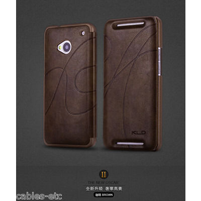 KLD Oscar 2 Royal Feel Leather Flip Diary Cover Case For HTC ONE M7 - Brown
