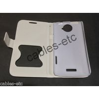 Caller ID Table Talk Leather Flip Cover Case For HTC One X X+ S720e - White