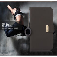 KLD Unique Solid Color Leather Flip Diary Cover Case For HTC ONE M7 - Black