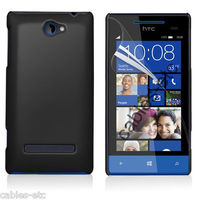 Rubberised Frosted Matte Hard Back Case Cover For HTC Windows Phone 8S - Black