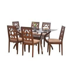 Lopez 6 Seater Dining Table,  walnut