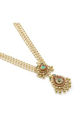 MULTI KUNDAN LEAF SHAPED PENDANT SET