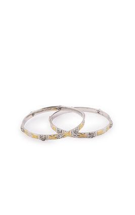 SILVER GOLD FACTED SEPARATE DESIGN CZ DIAMOND BANGLES