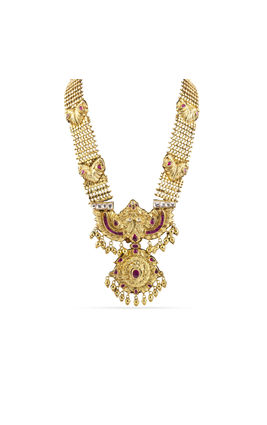 PINK STONE WHITE KUNDAN TEMPLE LONG NECKLACE SET