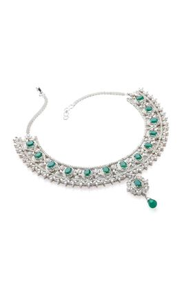 GREEN ONEX CZ DIAMOND NECKLACE SET
