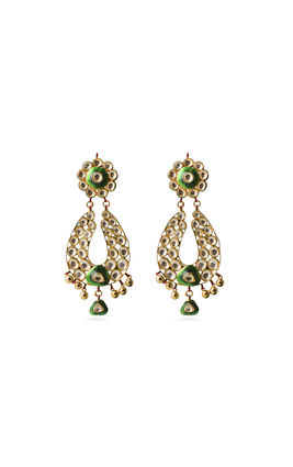 WHITE KUNDAN PEAR SHAPE EARRINGS
