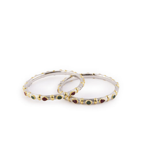 EMERALD RUBY STONE WITH GOLD SILVER FINISH BANGLES