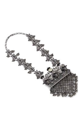 SILVER JAISALMERI LONG NECKLACE
