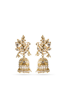 WHITE KUNDAN ZUMAR EARRINGS