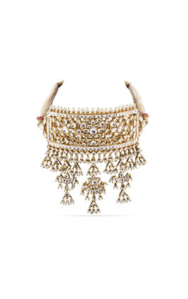 FULL WHITE KUNDAN JESALMERI NECKLACE SET