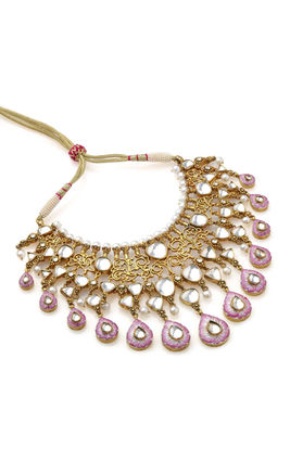 WHITE KUNDAN PINK ENMAL BIG STONE NECKLACE SET